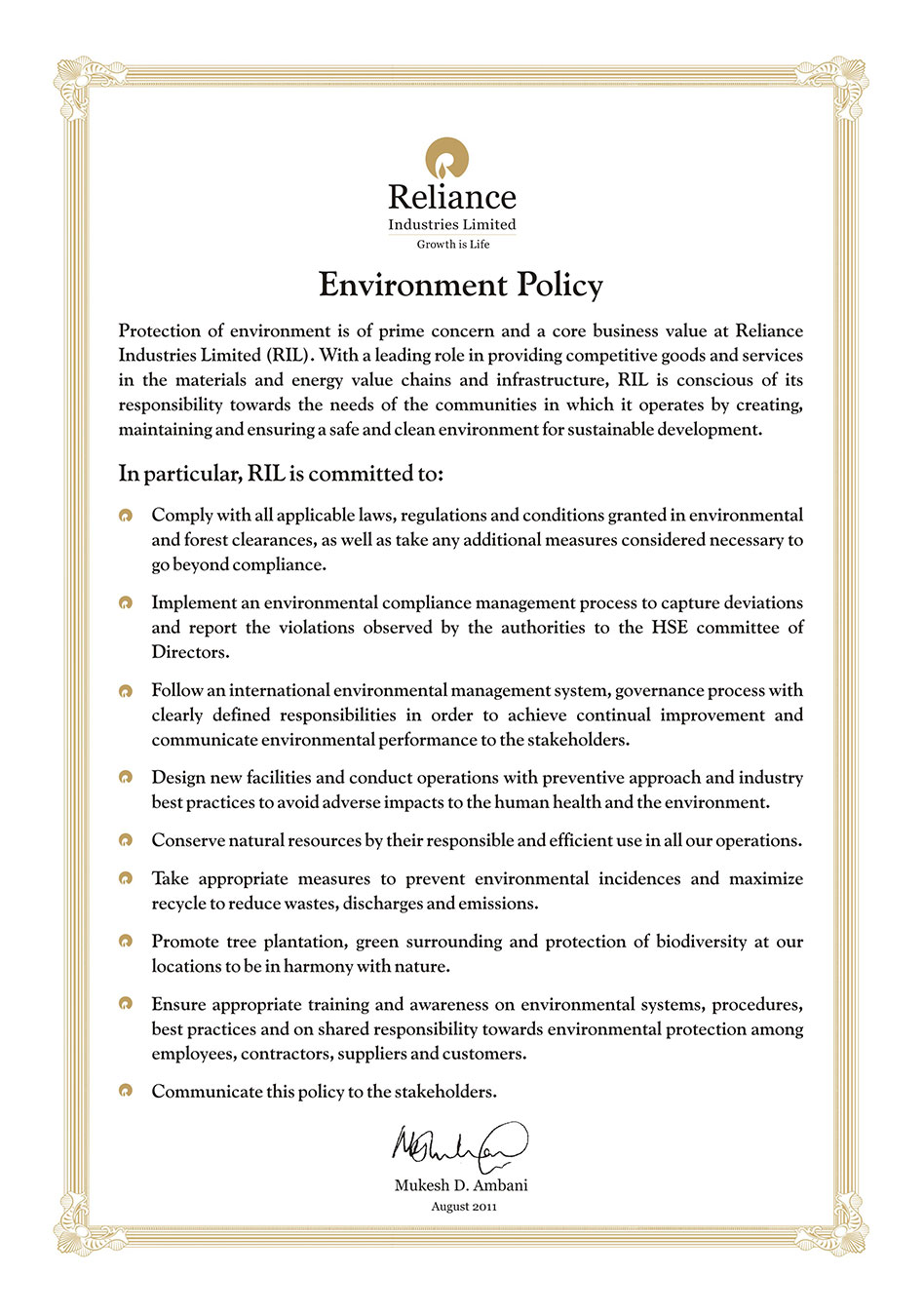 Health Safety Amp Environment Reliance Industries Limited