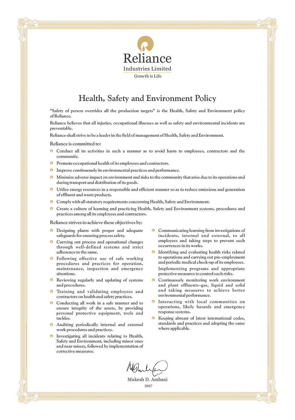 Health, Safety & Environment :: Reliance Industries Limited
